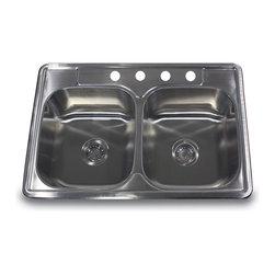 "Nantucket Sinks - Nantucket Sink ns3322-de - 33"" Double equal self rimming Stainless Steel drop in - Self rimming drop in double equal stainless steel bowls."