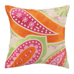 Boho Chic Bright Orange, Fuchsia, Lime Green Embroidered Pillow 16 x 16 - Cheerful bright colored accent pillow...add a little pop to any room.