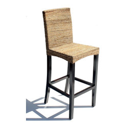 WickerParadise - Abaca Barstool Set of 2 - Maui - Your new barstools feature an absolutely gorgeous combination of light and dark: woven abaca over solid mahogany. The effect is classy and casual, exactly the sort of the atmosphere you want to create at your kitchen's bar.