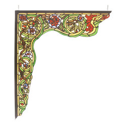Meyda Tiffany - Meyda Tiffany Serpent Left Corner Bracket Window X-12256 - This Meyda Tiffany left corner bracket window from the Serpent Collection features vivid shades of green with red and plum accenting. Yellow details and a unique swirling appearance are sure to add visual interest to any window or other setting. Designed to be paired with the Meyda Tiffany right corner bracket.