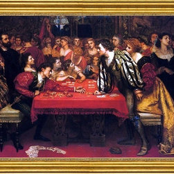 """Valentine Cameron Prinsep-16""""x24"""" Framed Canvas - 16"""" x 24"""" Valentine Cameron Prinsep Venetian Gaming-House in the Sixteenth Century framed premium canvas print reproduced to meet museum quality standards. Our museum quality canvas prints are produced using high-precision print technology for a more accurate reproduction printed on high quality canvas with fade-resistant, archival inks. Our progressive business model allows us to offer works of art to you at the best wholesale pricing, significantly less than art gallery prices, affordable to all. This artwork is hand stretched onto wooden stretcher bars, then mounted into our 3"""" wide gold finish frame with black panel by one of our expert framers. Our framed canvas print comes with hardware, ready to hang on your wall.  We present a comprehensive collection of exceptional canvas art reproductions by Valentine Cameron Prinsep."""