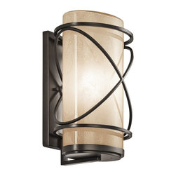 Kichler Lighting - Kichler Lighting 49358AZ Trafari Transitional Outdoor Wall Sconce - This 1 light outdoor wall fixture from the Trafari™ collection leaves a luminous impression. The Vetro Mica Glass, rich Architectural Bronze™ finish, and linear detailing will elevate and enhance any space.