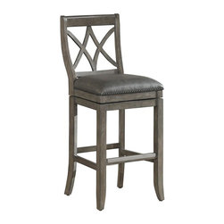 American Heritage - Hadley Stool (Bar Height Stool) - Choose Stool: Bar Height StoolFinished in Glacier with a comfortable Charcoal Bonded Leather Seat. This Wood 360° Full-Bearing Swivel stool comes as an Assembled Base & Seat with Adjustable Leg Levelers and a Brushed steel foot plate. 1 Year Warranty. Dust with damp cloth; clean with water only. 19 in. W x 20.75 in. D x 41 in. H (34 lbs)
