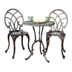 Cast Aluminum Dark Bronze Bistro Set - Enjoy the outdoors with the Cast Aluminum Dark Bronze Bistro Set. This three-piece set consists of two elegant chairs and a three-legged table. The wide-leg stance of the table aids in stability even on uneven outdoor surfaces. With a cast aluminum construction, this set is lightweight and easy to move around in garden, patio or backyard. Featuring an artistic, curvaceous design, this set reflects a great combination of aesthetic and functional appeal.About Best Selling Home Decor Furniture LLC Best Selling Home Decor Furniture LLC is a US-based company dedicated to providing you with a wide variety of fine furniture. With sales and manufacturing offices in Europe and China, as well as the ability to ship to anywhere in the world, no one is excluded from bringing these lovely pieces home. From outdoor to indoor furniture, children's furniture to ottomans and home accessories, all your needs will be met with attractive, high quality products that will last.