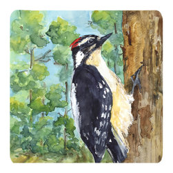 Caroline's Treasures - Bird - Downy Woodpecker Foam Coasters, Set of 4 - Foam Coaster - 3 1/2 inches by 3 1/2 inches. Permanently dyed and fade resistant. Great to keep water from your beverage off your table and add a bit of flair to a gatering.  Match with one of the insulated coolers or huggers for a nice gift pack.  Wash the coaster in the top of your dishwasher.  Design will not come off.  Made from our mouse pad material and is heat resistant.