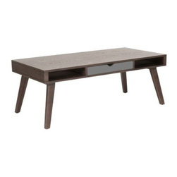 Euro Style Daniel Coffee Table with Drawer - Walnut / Gray - Solid wood construction and three spaces for storage – including one drawer – make this Euro Style Daniel Coffee Table with Drawer - Walnut / Gray a sophisticated and functional addition to any living space in your home. The coffee table's classic wooden design makes it a perfect candidate to be surrounded by similarly-colored or leather upholstered couches and chairs, and it also features three equally-sized spaces for storage, including two open slots for magazines and books and one centered gray drawer designed to contain loose items such as pens and business cards. The spacious veneer top measures nearly four feet wide and two feet deep, providing an ample amount of space for other items such as beverages, smartphones and picture frames.Dimensions:Overall: 47W x 23.5D x 18H inchesAbout Euro StyleEuro Style is more than a brand name. It's a complete design approach for furnishing the living room, dining room, kitchen, and office. Most Euro Style furniture can be assembled in under fifteen minutes. Some can be assembled in under five minutes. Assembly instructions and the few tools you might need come inside the carton. Today, there are hundreds of Euro Style products, with new ones arriving every month. You'll discover Euro Style offers the right design at the right price.