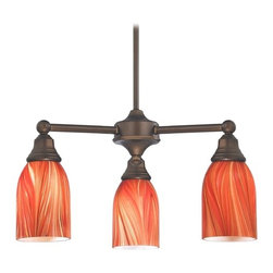 Design Classics Lighting - Mini-Chandelier with Red Glass in Neuvelle Bronze Finish - 598-220 GL1017D - Transitional neuvelle bronze 3-light chandelier. Takes (3) 100-watt incandescent A19 bulb(s). Bulb(s) sold separately. UL listed. Dry location rated.