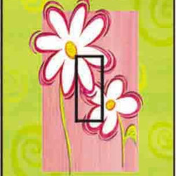 IdeaStix - Daisy Cool & Groovy Single Toggle Peel and Stick Switch Plate Cover - SwitchStix transforms an ordinary switch plate into beautiful art decorations.  Made from proprietary rubber-resin, Premium SwitchStix Peel and Stick Decor offers a quick and easy solution for decorating plain switch plates.  With features like water/heat/steam-resistant, nontoxic, washable, removable and reusable, it is ideal for any room in the house or office.  SwitchStix fits standard size switch plates and applies right over the switch plate and it even covers the screw holes.  Suitable for standard size non-porous and smooth switch plates.  Discard mid-section for toggle switch placement.  Surface can be washed with most household cleaning products.