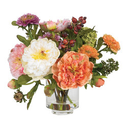 "Nearly Natural - Peony Silk Arrangement - Nothing says ""wow"" quite like this striking mixed peony arrangement. Featuring several distinct blooms in varying stages of maturity, the mixture of textures and colors that this arrangement offers is both eclectic and bold. Standing 10"" high, this arrangement comes in a glass vase with liquid illusion, which completes its elegance quite nicely."