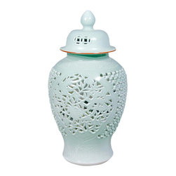 Belle & June - Celadon Carving Temple Jar - Vases don't always have to hold flowers. Place this on a side table or console table for an instant focal point. The intricate design creates drama and the height draws your eye.