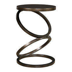 Vanguard - Solvay Spot Table - This accent table gets an A+ in geometry, with three open rings seemingly balanced one atop the other. It has a small footprint, so it's a perfect fit if you're a little tight on space. And, it's equally at home sitting beside a bed or a sofa.