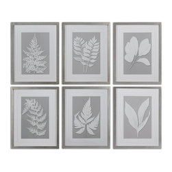 Uttermost - Moonlight Ferns Framed Art, Set of 6 - Serene and calm, this set of six ferns framed in a silver leaf base will have you breathing deeply and relaxing immediately. Hang them wherever you need a reminder of nature and her calming ways.
