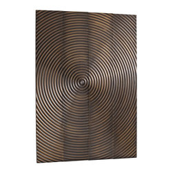 Kathy Kuo Home - Epicenter Vintage Brass Metal Clad Global Wall Plaques - Set of four - Turn one wall of your urban loft into a modern art gallery with this impressive vintage brass wall plaque. The plaque features four panels that fit together, connecting via carved concentric circles that radiate outward. Providing a pretty bronze glow, this handsome hanging sculpture will bring a fluid look and a zen atmosphere into your home.