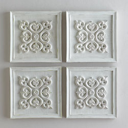 Horchow - Antiqued-White Square Panel - Picture-framed filigree-style square medallion adds texture and architectural interest to wall space. Dramatic alone, it makes a grand statement when used in multiples, as shown here. Handcrafted of resin. Hand-painted antiqued-white finish. Sawtooth...