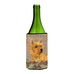 Caroline's Treasures - Norwich Terrier on Faux Burlap with Pine Cones Wine Bottle Koozie Hugger - Norwich Terrier on Faux Burlap with Pine Cones Wine Bottle Koozie Hugger Fits 750 ml. wine or other beverage bottles. Fits 24 oz. cans or pint bottles. Great collapsible koozie for large cans of beer, Energy Drinks or large Iced Tea beverages. Great to keep track of your beverage and add a bit of flair to a gathering. Wash the hugger in your washing machine. Design will not come off.