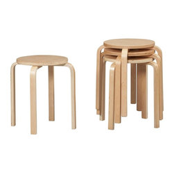 Linon - 17.5 in. Bentwood Stool in Natural Finish - S - Set of 4. Stackable function allows for easy storage to save space when not in use. No commercial usage. Fully assembled. 17.5 in. seat height. 17.13 in. W x 17.13 in. D x 18 in. H17.5 Bentwood Stacking Stools. The simple yet sturdy design of this counter/bar stool will provide the extra seating you need in your kitchen, dining or home pub area. The stackable function allows for easy storage to save space when not in use. Natural finish.
