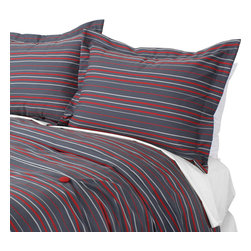 """Sands - Chooty - Multi Stripe Charcoal Corded King Duvet and 2 Corded Shams - Relax in style with this Duvet Set in charcoal gray with multi horizontal stripes of red and white that run the width of the duvet. The duvet is accented with 4 red buttons and two matching shams. Stylish simplicity makes this set a great choice for a college dorm or a boy's room. (King Size - 100""""W x 94""""L)"""