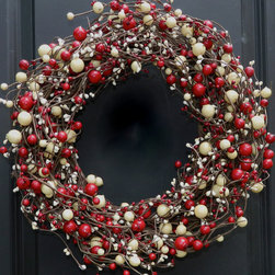 Red and White Christmas Wreath by Ever Blooming Original - I like a wreath like this for Christmas because the color scheme can last through to January and February.