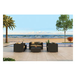Harmonia Living - Urbana 4 Piece Modern Wicker Sofa Set, Weathered Stone Wicker, Beige Cushions - The Harmonia Living Urbana 4 Piece Wicker Patio Sofa Set with Tan Sunbrella cushions (SKU HL-URBNWS-4SS-HB) is sure to turn your patio into a stylish center of modern outdoor entertainment. Its durable, reinforced aluminum frames and fade-resistant High-Density Polyethylene (HDPE) wicker keep this outdoor sofa set looking great for years. Each strand of wicker has been infused with a Weathered Stone color and UV protection to ensure it will neither crack nor fade from regular sun exposure, setting its quality apart from rattan patio sets. The loveseat and chairs include fade- and mildew-resistant Sunbrella cushions in Canvas Heather Beige that are made in America and come complete with cushion ties to keep them firmly in place. The cushions can also be unzipped to wash the cover fabric, making it easy to care for your patio set. Inside of the cushions is a comfortable padding wrapped in Dacron, which helps reduce moisture retention, preventing mildew from forming. The entire set is designed to provide roomy outdoor seating for adults and the seats are reinforced to provide comfort and support and to prevent sagging. Few modern outdoor sofa sets offer this level of quality and design at such an affordable price. Compare our furniture sizes and quality construction with the rest and you will not find a better value!
