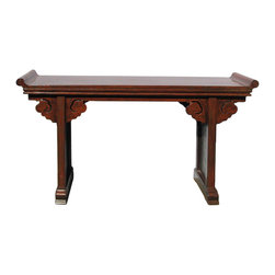 Golden Lotus - Chinese  Red Brown Rustic Lacquer Altar Console Table - This is an old used altar console table with restored lacquer surface. It has simple point edge table top and scroll apron accent.