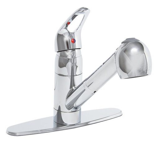 Premier Faucet - Premier Bayview  Pull Out Kitchen Sink Faucet  Chrome - Lead Free - Premier's ceramic disc pull-out kitchen faucet provides exceptional performance and flexibility at an outstanding value. A convenient pull-out spout with a retractable hose allows you maximum range for rinsing, cleaning, or filling large pots. Change from an aerated stream to a powerful spray with the touch of a button. This Bayview kitchen faucet features quality lead-free brass construction, 1/2-Inch IPS connections, a single lever handle for precise temperature and volume control, wear-resistant ceramic disc technology, and a deluxe chrome finish. This faucet includes a detachable deck plate so it can be mounted on one-hole or three-hole installations. It complies with the requirements of the Uniform Plumbing Code and the Americans with Disabilities Act. It is backed by Premier's industry-leading Limited Lifetime Warranty. This Premier faucet has been certified to meet the strict lead-free standards of California and Vermont.