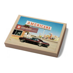 Googie Puzzle - Photographed in Panama City, Florida, this puzzle evokes a great sense of nostalgia. Let it sweep over you as you and your family piece together the appealing image of a classic old car against Googie-inspired architecture.