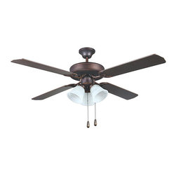 Aztec Lighting - Transitional Oil Rubbed Bronze Three-light Ceiling Fan - This transitional oil rubbed bronze ceiling fan makes an excellent contrasting addition to the d_cor of most any room requiring additional airflow. The three-speed reversible motor provides easy adjustment to accommodate changing room temperatures.