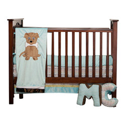 "Puppy Pal Boy - Infant Set, Set of 3 - Let the Puppy out to play with ""One Grace Place"" Puppy Pal Boy collection.  This 3 piece set includes crib bed skirt, crib sheet and coordinating quilt (bumper sold separately).  Crib sheet in the collections signature print ""Give a Dog a Bone"" cotton print fabric in soft blue.  Bed skirt showcases ""One Grace Place"" Doggy Dip Blue cotton print fabric trimmed in blue and green minky fabric.  Puppy Pal coordinating quilt  is amazing and so fun!.  Soft minky on both sides make this the perfect blanket anytime and anywhere!  The collections ""Puppy Pal"" is appliqued on the front and the back of this fun quilt!  Front in blue and back in green --all in Minky!  Quilt is trimmed in chocolate brown using our soft satin.  A collection to make you smile in every way!"