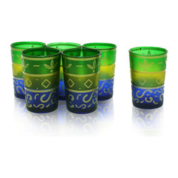 Divine Designs - Set of 6 Moroccan Tea Glasses, Green and Blue - These stunning Moroccan tea glasses offer a new and unique experience to dining and entertaining. The vibrant color and distinguishing design is stylish and designed to impress.
