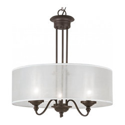 Joshua Marshal - Three Light Rubbed Oil Bronze Clear Ribbed Outer Frosted Inner Glass Light - Three Light Rubbed Oil Bronze Clear Ribbed Outer Frosted Inner Glass Light