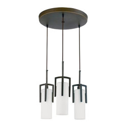 AFX - Restoration 3 Light Circular Pendant Light in Oil-Rubbed Bronze - Requires 120V lamp and three bulbs. Bulb not included. Elegant geometry. Cast metal frame. Electronic ballast. Twist lock strain relief for easy adjustment. 72 in. black adjustable cord length. 15 in. round canopy. 0.40 in. thick aluminum spun. Height can be adjustable from strain reliefs located at the cover. Glass can be raised for easy re-lamping and has an open bottom. Can be used over receptions desks, restaurants and in public spaces. 0.90 in. thick frosted hand-blown case glass secured into a die cast fitter with two screws. Opal white glass diffuser. UL listed for damp location. Bulb type: CFQ 4 pin. Maximum wattage: 13 Watts. Warranty: Two years limited. 15 in. Dia. x 14.5 in. H (12.35 lbs.). Specifications. Assembly Instructions