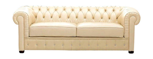 ESF Furniture - Ivory Italian Leather Sofa with Rhinestones - ESF Furniture - This living room Ivory Italian Leather Sofa with Rhinestones - ESF Furniture has an inviting appeal and comfort. Sofa is accented with rhinestones and wrapped in finest genuine Italian leather.