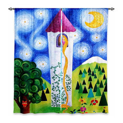 """DiaNoche Designs - Window Curtains Lined by nJoyArt Rapunzels Tower - Purchasing window curtains just got easier and better! Create a designer look to any of your living spaces with our decorative and unique """"Lined Window Curtains."""" Perfect for the living room, dining room or bedroom, these artistic curtains are an easy and inexpensive way to add color and style when decorating your home.  This is a woven poly material that filters outside light and creates a privacy barrier.  Each package includes two easy-to-hang, 3 inch diameter pole-pocket curtain panels.  The width listed is the total measurement of the two panels.  Curtain rod sold separately. Easy care, machine wash cold, tumble dry low, iron low if needed.  Printed in the USA."""