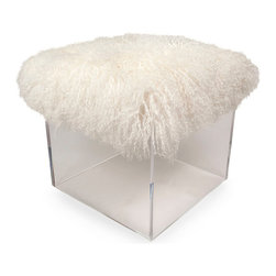 Fluff Bella Cube - Lamb Cushion - Toy with the look of open space in your home while adding a note of upscale indulgence and diverting fun. The Fluff Bella Cube with its Lamb Cushion adds a cloud of deep, soft white fleece to your home, but this lofty, luscious cushion rests on a clear box of air: the acrylic walls are transparent, letting flooring colors show and visually expanding smaller rooms.