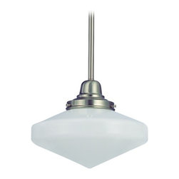 Design Classics Lighting - 10-Inch Schoolhouse Mini-Pendant Light in Satin Nickel - FB4-09 / GE10 - Satin nickel finish mini-pendant light with Glenfair schoolhouse opal white glass. Includes three 12-inch and one six-inch stem segments to allow for flexibility in height adjustment from a minimum of 17-1/2-inches to a maximum height of 53-1/2-inches. Takes (1) 150-watt incandescent A21 bulb(s). Bulb(s) sold separately. UL listed. Dry location rated.