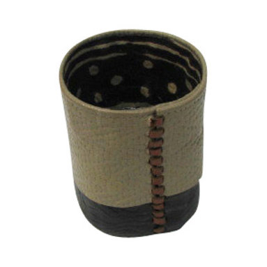 Jypsea Leathergoods - Cream Leather Vessel/ Pencil Holder with Mudcloth Lining - Handcrafted from cream chevron weave-embossed textured leather combined with chocolate brown flower-embossed textured lambskin leather then lined with African mudcloth. The centrally placed leather binding is in a metallic bronze hue.
