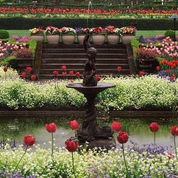 Walls 360, Inc. - Flowers in Butchart Gardens Brentwood Bay Panoramic Fabric Wall Mural - Transform your empty walls with Walls 360's premium, repositionable wall graphics.