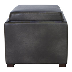 Cortesi Home - Mavi Tray Top Storage Ottoman - The Mavi cube ottoman in a  bonded leather or linen is as clever as it is stylish. Featuring a plushly padded top that reveals a convenient serving tray for your snacks and drinks as well as a storage compartment for all your things. Solid wood frame and legs.