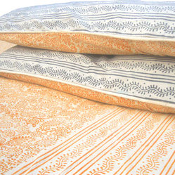 Tilonia Home: King Duvet Set - Pumpkin Paisley & Centipede Stripe in Slate