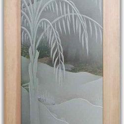 """Interior Glass Doors - Queen Palm 3D w/ Blooms in Color - CUSTOMIZE YOUR INTERIOR GLASS DOOR!  Interior glass doors or glass door inserts.  .Block the view, but brighten the look with a beautiful interior glass door featuring a custom frosted glass design by Sans Soucie!  ship for just $99 to most states, $159 to some East coast regions, custom packed and fully insured with a 1-4 day transit time.  Available any size, as interior door glass insert only or pre-installed in an interior door frame, with 8 wood types available.  ETA will vary 3-8 weeks depending on glass & door type........  Select from dozens of sandblast etched obscure glass designs!  Sans Soucie creates their interior glass door designs thru sandblasting the glass in different ways which create not only different levels of privacy, but different levels in price.  Bathroom doors, laundry room doors and glass pantry doors with frosted glass designs by Sans Soucie become the conversation piece of any room.   Choose from the highest quality and largest selection of frosted decorative glass interior doors available anywhere!   The """"same design, done different"""" - with no limit to design, there's something for every decor, regardless of style.  Inside our fun, easy to use online Glass and Door Designer at sanssoucie.com, you'll get instant pricing on everything as YOU customize your door and the glass, just the way YOU want it, to compliment and coordinate with your decor.   When you're all finished designing, you can place your order right there online!  Glass and doors ship worldwide, custom packed in-house, fully insured via UPS Freight.   Glass is sandblast frosted or etched and bathroom door designs are available in 3 effects:   Solid frost, 2D surface etched or 3D carved. Visit our site to learn more!"""