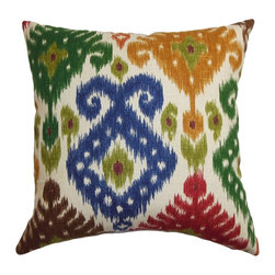 Kaula Ikat Green and Blue Down Filled Throw Pillow -