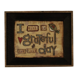 "MyBarnwoodFrames - I will Be Grateful For This Day Lisa Larson Print in Barnwood Frame, 22x17 - A whimsical art print by Lisa Larson, this framed quote reads, ""I will be grateful for this day."" Print design features tan, barn red and blue color tones with a background of printed musical notation and a glazed wash to give the overall look of an antique. Red hearts and songbirds complete the cheerful design. Framed in a rustic wood frame with a black wash and natural reclaimed barnwood border."