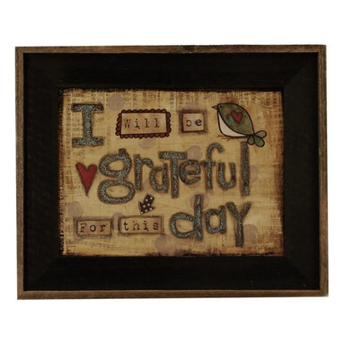 """MyBarnwoodFrames - I will Be Grateful For This Day Lisa Larson Print in Barnwood Frame, 22x17 - A whimsical art print by Lisa Larson, this framed quote reads, """"I will be grateful for this day."""" Print design features tan, barn red and blue color tones with a background of printed musical notation and a glazed wash to give the overall look of an antique. Red hearts and songbirds complete the cheerful design. Framed in a rustic wood frame with a black wash and natural reclaimed barnwood border."""