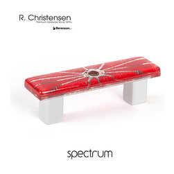 9645-1000-C Red Glass Cabinet Pull by R.Christensen - 64mm center to center modern glass cabinet pull in Red.