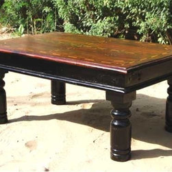 Rustic Inlaid Wood Sofa Cocktail Coffee Table - Handmade and Hand Painted Rectangular Coffee table with a Rustic tabletop. Subtle bone inlayed design on the tabletop accent the true beauty of the Indian Rosewood.
