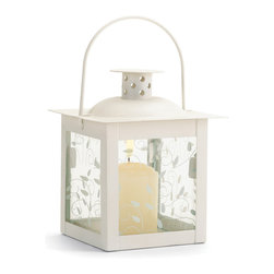 """Koehler Home Decor - Koehler Home Decor Antique Style Lantern - Small - Antique style candle holder featuring graceful curling vine design on glass panels. Perfect for adding special sparkle to your next garden party. Metal and glass. 4""""x 4""""x 4.75""""H.Antique style candle holder featuring graceful curling vine design on glass panels. Material: Metal and glass. Size: 4""""x 4""""x 4.75""""H."""