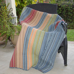 None - Katy Multicolored Quilted Throw - Chic and versatile, the Katy quilted throw features a variety of warm and cool colors. With a broad brushstroke of tasteful tones to compliment any bedroom theme, this throw reverses to a coordinating blue stripe.