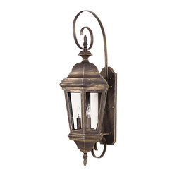 Kenroy Home - Kenroy 16314AP Estate Large Wall Lantern - The Antique Patina or rich Black finish of Estate will grace any size manor.  With clear glass panels, the wall-mounted lanterns feature sinuous decorative brackets, adding scale and refinement to your entryway.