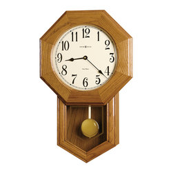 Howard Miller - Howard Miller Golden Oak Dual Chime Classic Wall Clock   ELLIOTT - 625242 Elliott