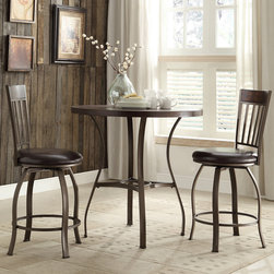 None - Keyaki Rustic Antique Bronze Oak Round Dining Table - Perfect for creating an intimate dining setting,this round table boasts a pleasing mix of bronze and cherry wood finishes. Metal legs with a graceful hourglass shape support the handsome wood grain table top.